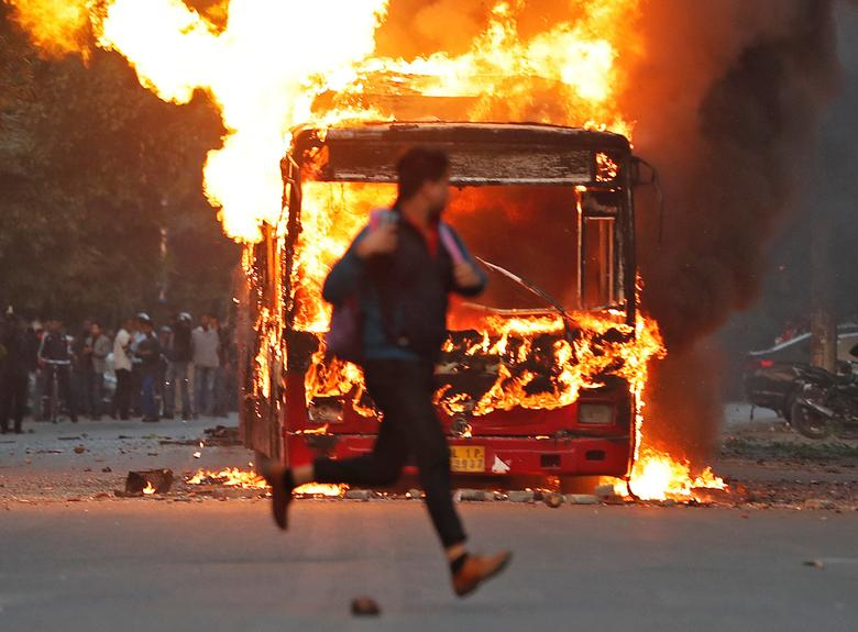 Caa Protests Burning Bus